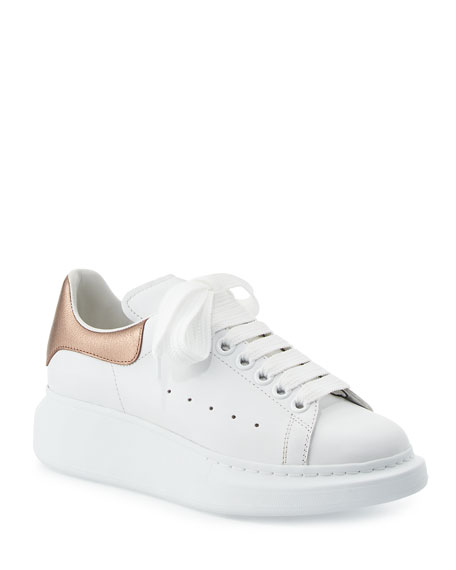 Metallic Trimmed Leather Exaggerated Sole Sneakers in White