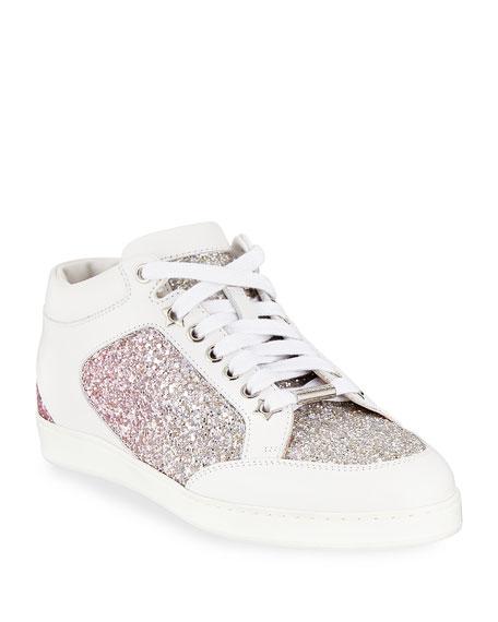 52246fdbc11 Jimmy Choo Miami Platinum And Flamingo Ice Glitter DÉGradÉ Fabric ...