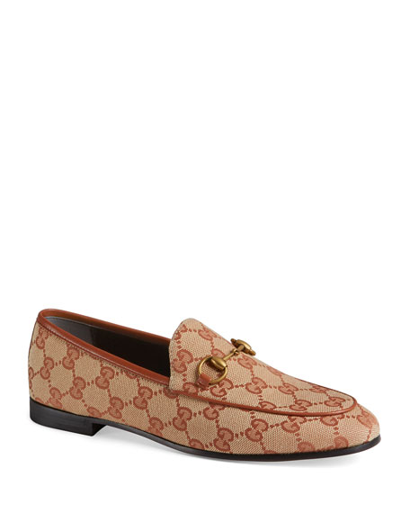 Gucci 'Jordaan' Gg Embroidered Canvas Horsebit Loafers In Neutrals