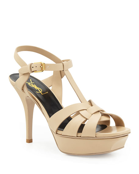 b3896f53edd Saint Laurent Tribute 75 Patent Leather Platform Sandals In Nude   Neutrals