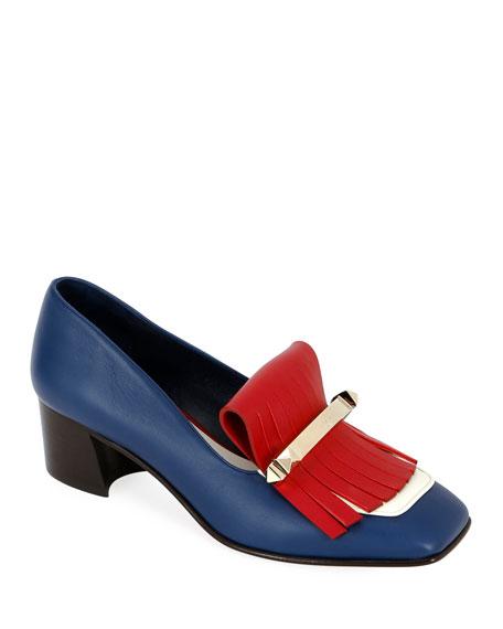 ab3a7460595 Valentino Uptown Colorblock Kitten-Heel Kiltie Loafers In Blue ...