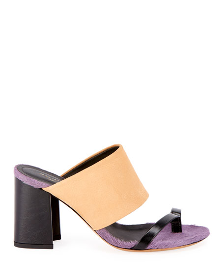 89934abe32 Dries Van Noten Calf-Hair Trim Toe-Ring Chunky Slide Sandals | ModeSens