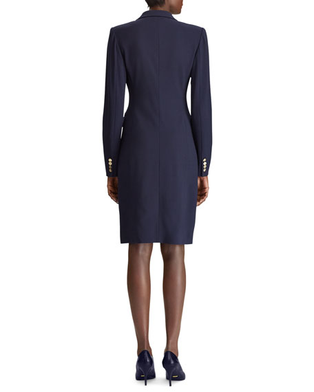 Ralph Lauren Wellesley Double-Breasted Wool Coat Dress In Navy