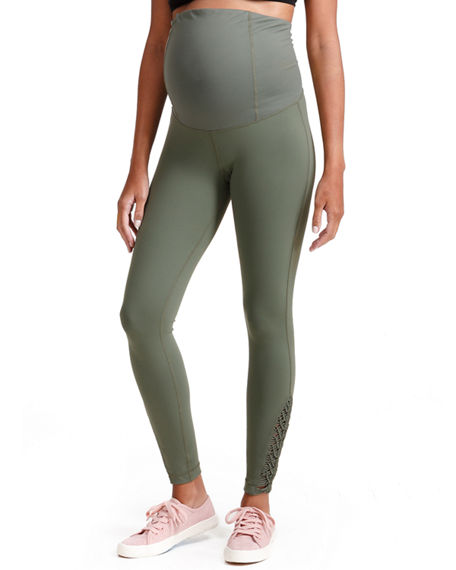 87a3a735cd0d1 Ingrid & Isabel Maternity Active Ankle-Length Leggings With Macrame Detail  In Olive