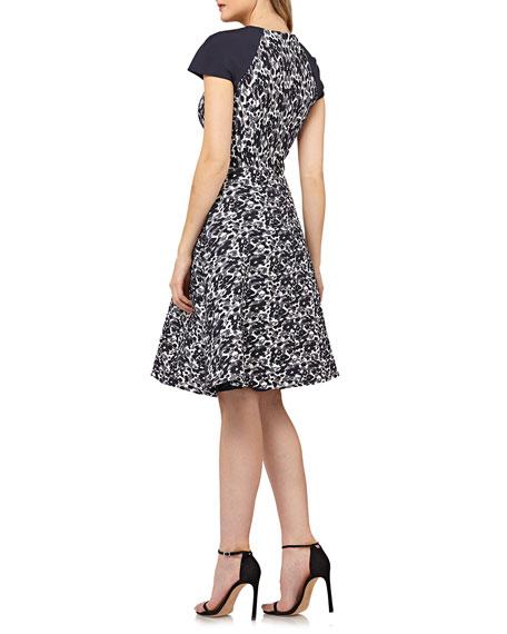 8df7dae0 Kay Unger Metallic Stretch Jacquard Dress W/ Raglan Sleeves In Navy Multi