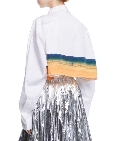 7c93335f Calvin Klein 205W39Nyc Billboard-Print Overlay Long-Sleeve Button-Down Shirt  In White