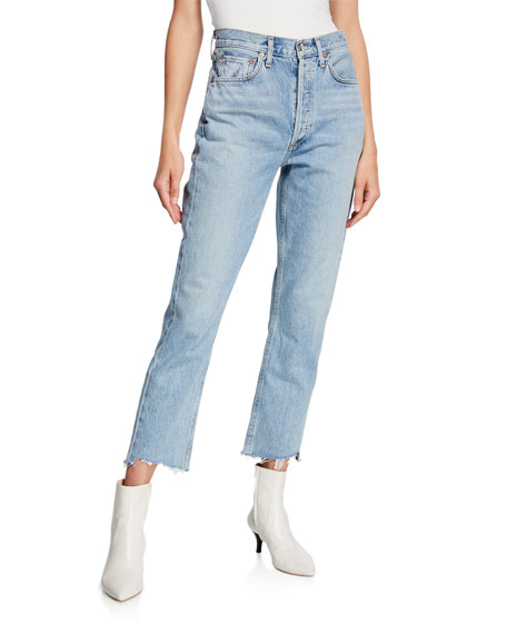 Riley High-Rise Straight Crop Stagger Jeans in Zephyr