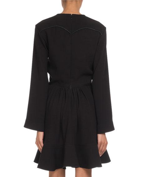 71daa977 Crewneck Long-Sleeve Tie-Waist Crepe Mini Dress in Black