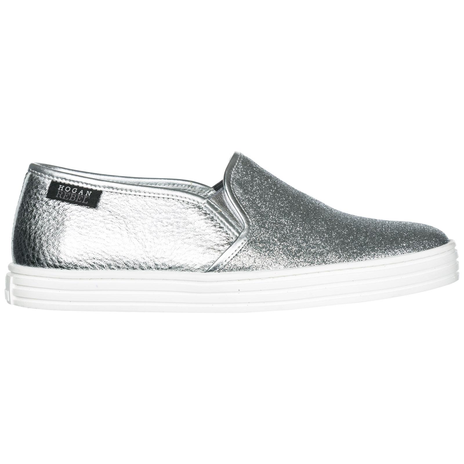 Hogan Rebel Women's Leather Slip On Sneakers R141 In Silver | ModeSens