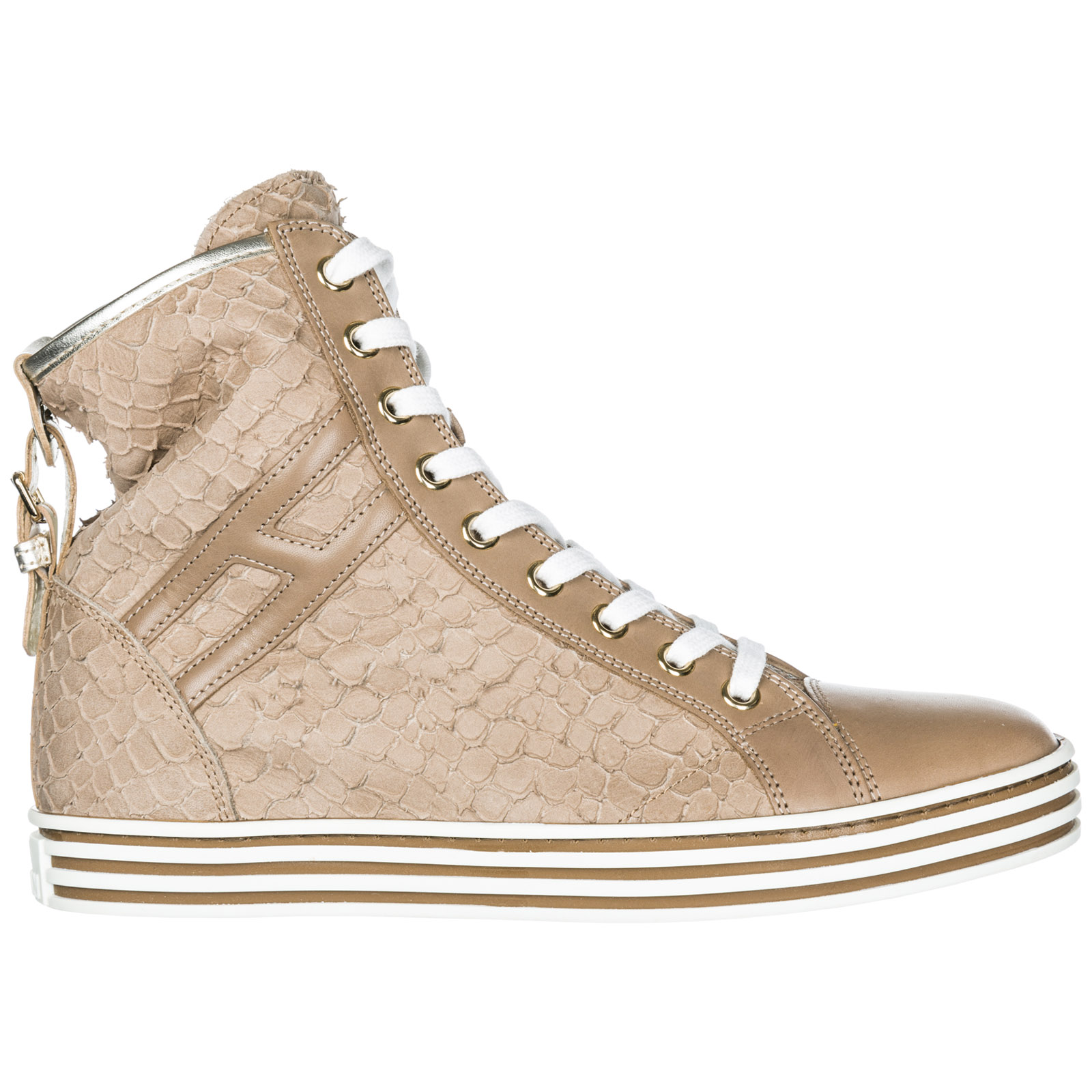 Hogan Rebel Women's Shoes High Top Leather Trainers Sneakers R182 ...