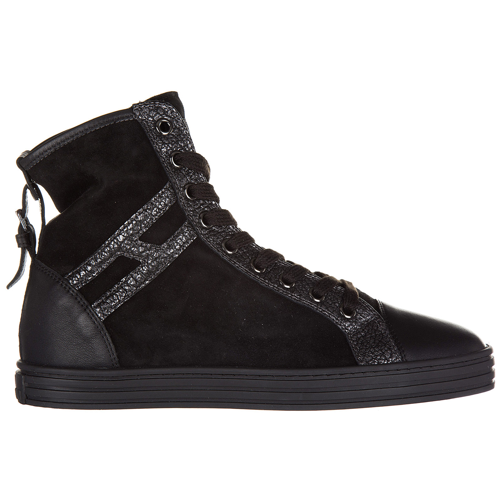 Hogan Rebel Womens Shoes High Top Suede Trainers Sneakers R182 In Black  Modesens-9036