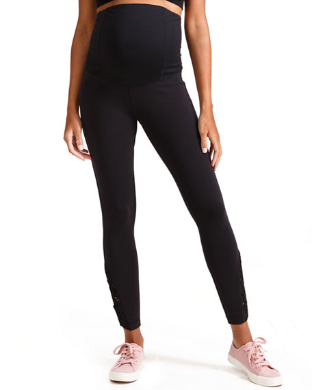02fdf844a338d Ingrid & Isabel Maternity Active Ankle-Length Leggings With Macrame Detail  In Black