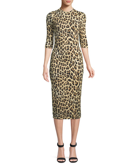 3b2f6b043f56 ALICE AND OLIVIA. Delora Mock-Neck Fitted Leopard-Print Sheath Dress in Textured  Leopard