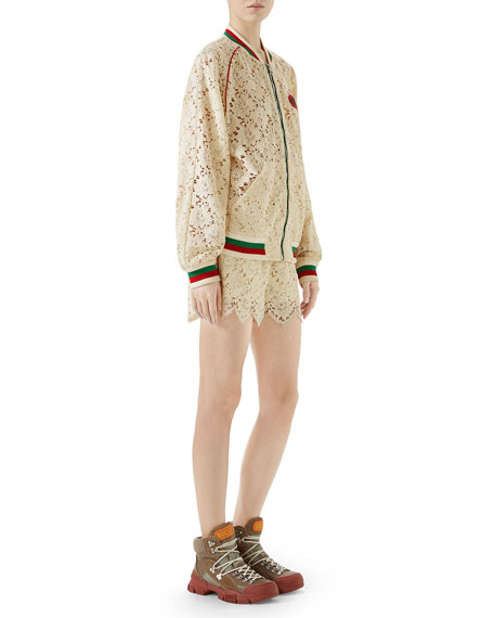 GUCCI LEAF-BROCADE LACE ZIP-FRONT BOMBER JACKET WITH EMBROIDERED PATCH,PROD211240261