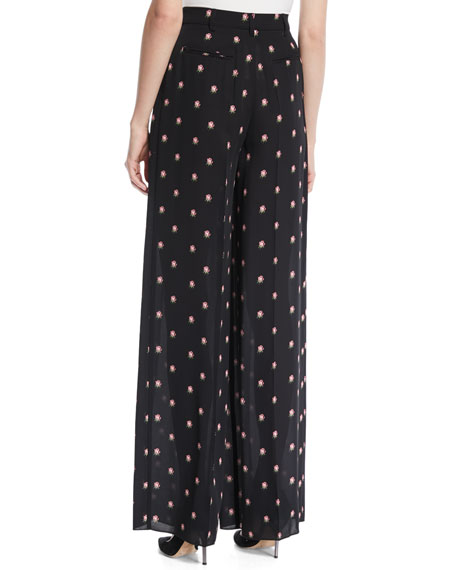 Valentino Rosebud-Print Wide-Leg Silk Pajama Pants In Black Pattern