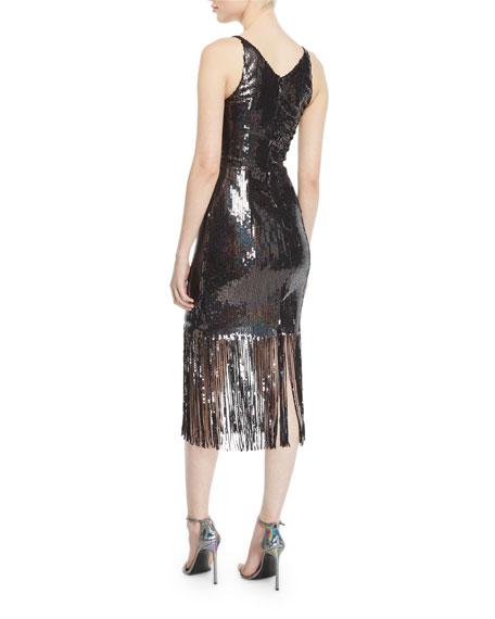 4a8e4452 Dress The Population Frankie Sequin Fringe Sleeveless Dress In Onyx ...
