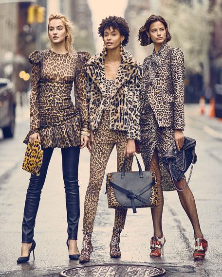 9c424661e2aa Veronica Beard Ari Ruched Leopard-Print High-Low Skirt In Nude & Brown
