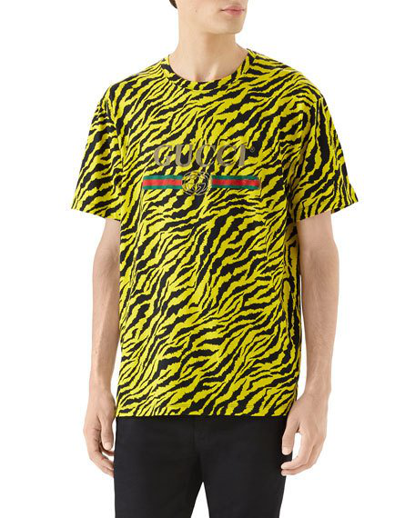 f149b9639 Gucci Tiger Print Logo T-Shirt In Yellow | ModeSens