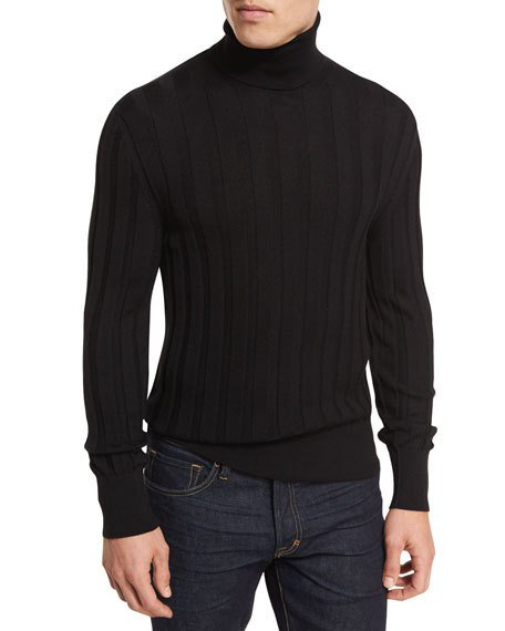 1d1900bcb Tom Ford Classic Flat-Knit Cashmere Turtleneck Sweater