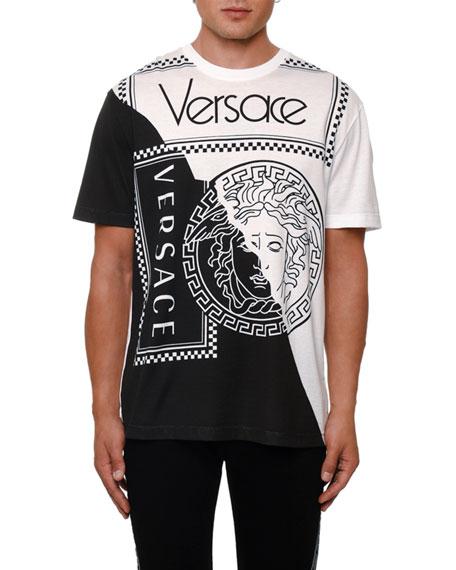 be51203f0 Versace Men's Colorblock Medusa Logo Graphic T-Shirt, White/Black ...