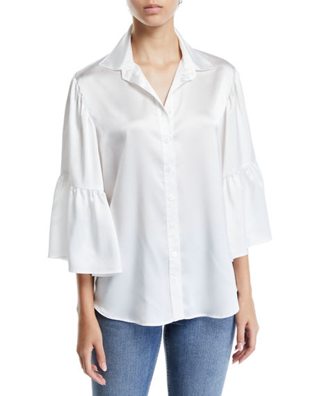 211f9213b Finley Naomi Satin Button-Front Shirt In Ivory