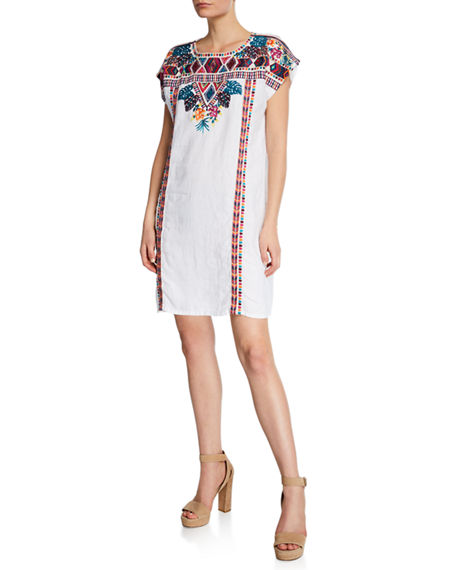 Johnny Was Plus Size Quinn Embroidered Short-Sleeve Shift Tunic ...