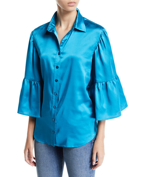 9b60c14389d697 Finley Naomi Satin Button-Front Shirt In Teal