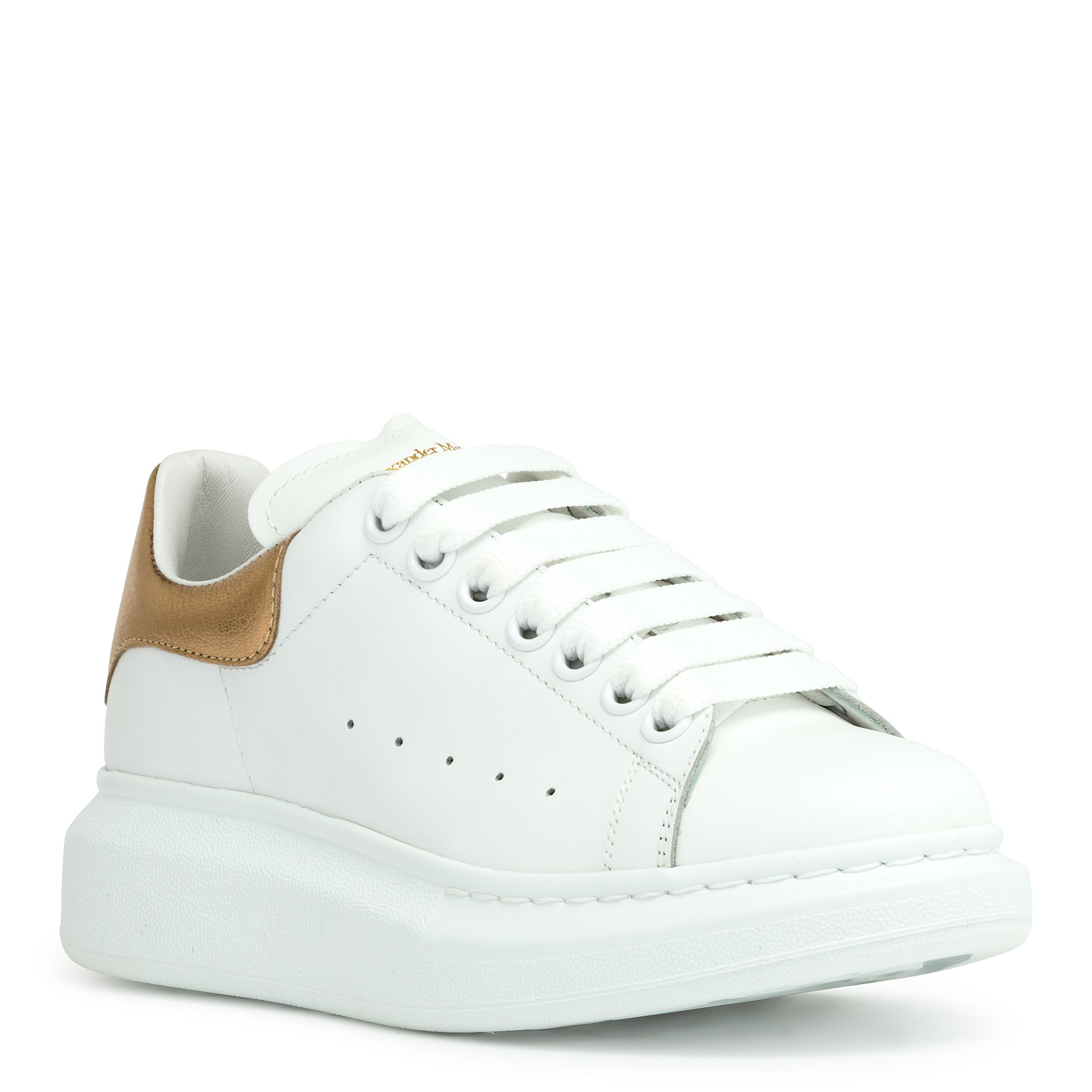 Alexander Mcqueen Metallic-Trimmed Leather Exaggerated-Sole Sneakers In White