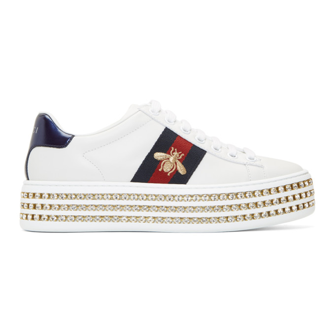 32abc29c1266 Gucci New Ace Crystal Bee-Embroidered Leather Sneakers In White ...