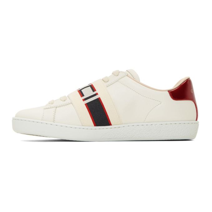 Gucci New Ace Guccy Logo Sneaker With Genuine Snakeskin Trim In White
