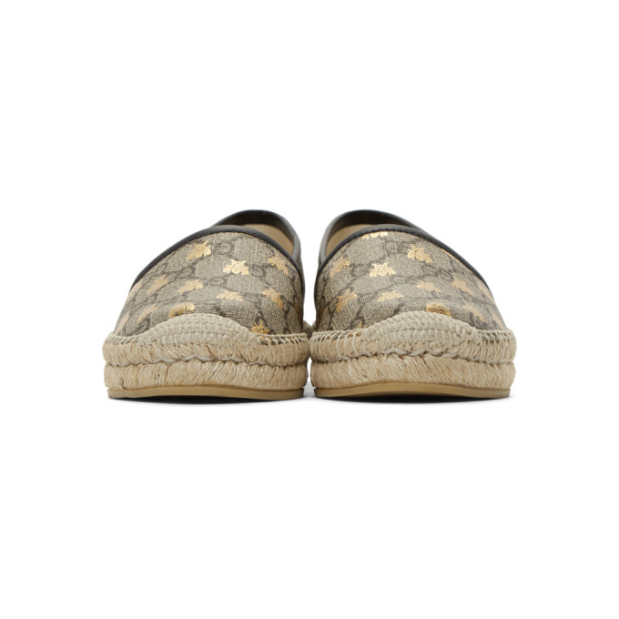 Gucci Leather-Trimmed Printed Coated-Canvas Espadrilles In Beige