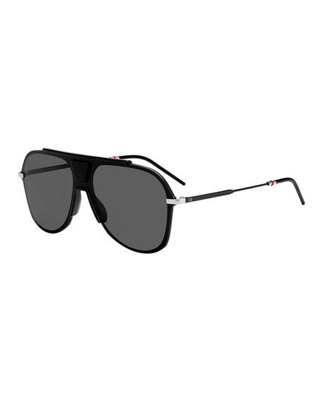ac9ff9da84ced Dior Men s Metal-Trim Oversize Aviator Sunglasses In Gray