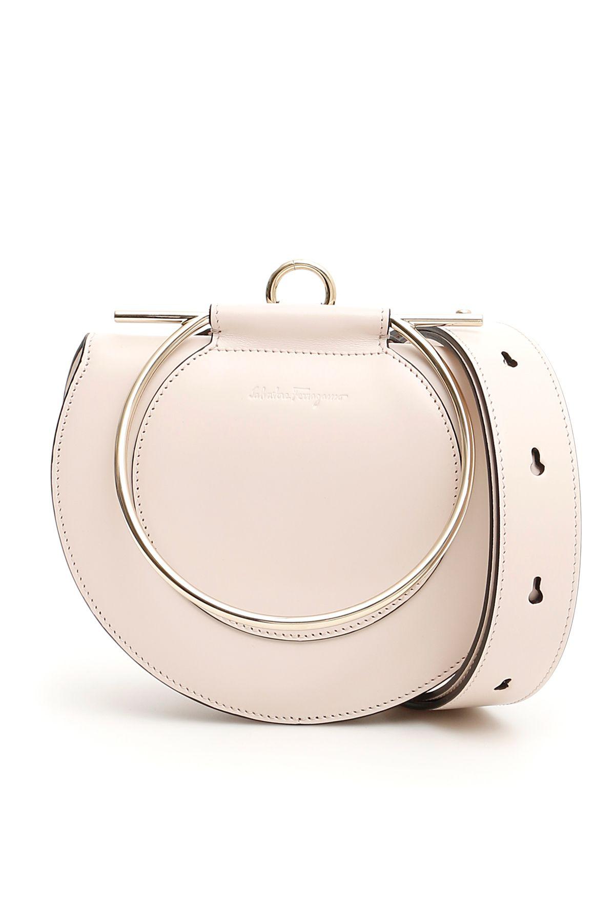 Salvatore Ferragamo Daphne Gancino Pale Blush Shoulder Bag In White ... 3aae157546fe3