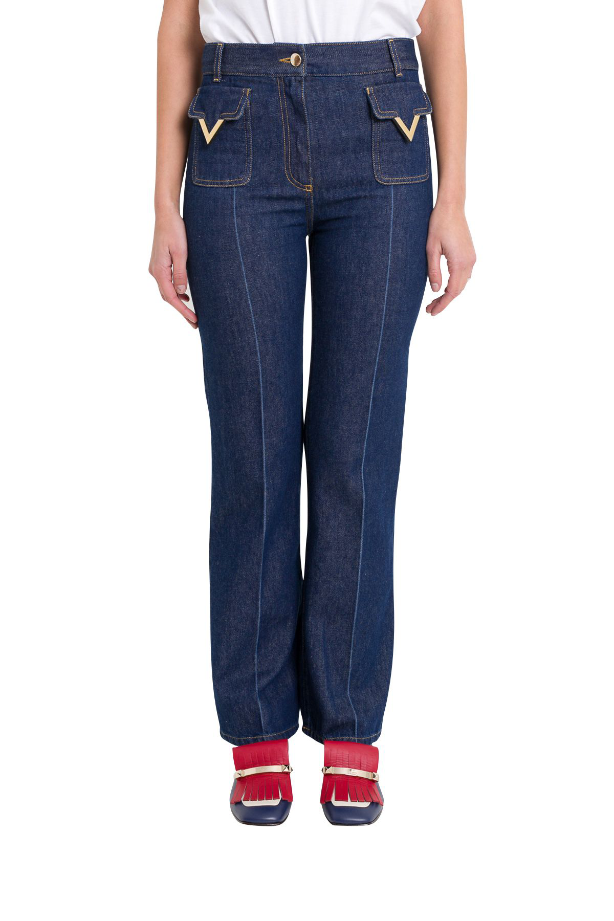 f53073f6df Valentino Patch Pocket V-Hardware Ankle Jeans In Indigo