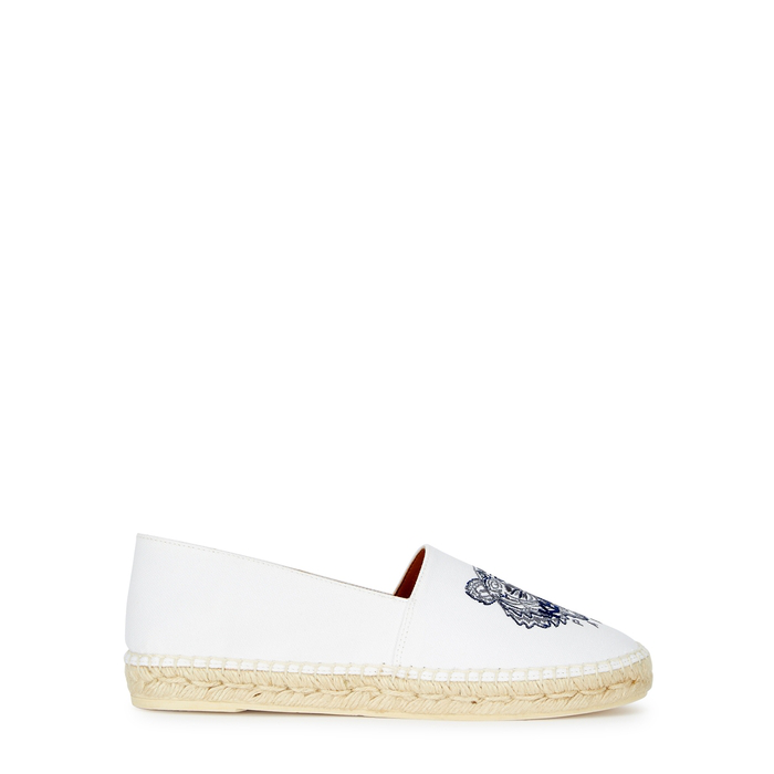 d84235f4 Kenzo Off-White Tiger-Embroidered Canvas Espadrilles In 01 - Canvas ...