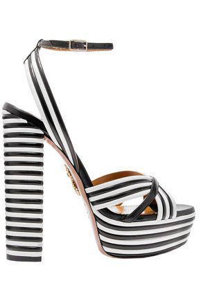 5b51786f56 Aquazzura Sundance Striped Leather Platform Sandals In Black | ModeSens