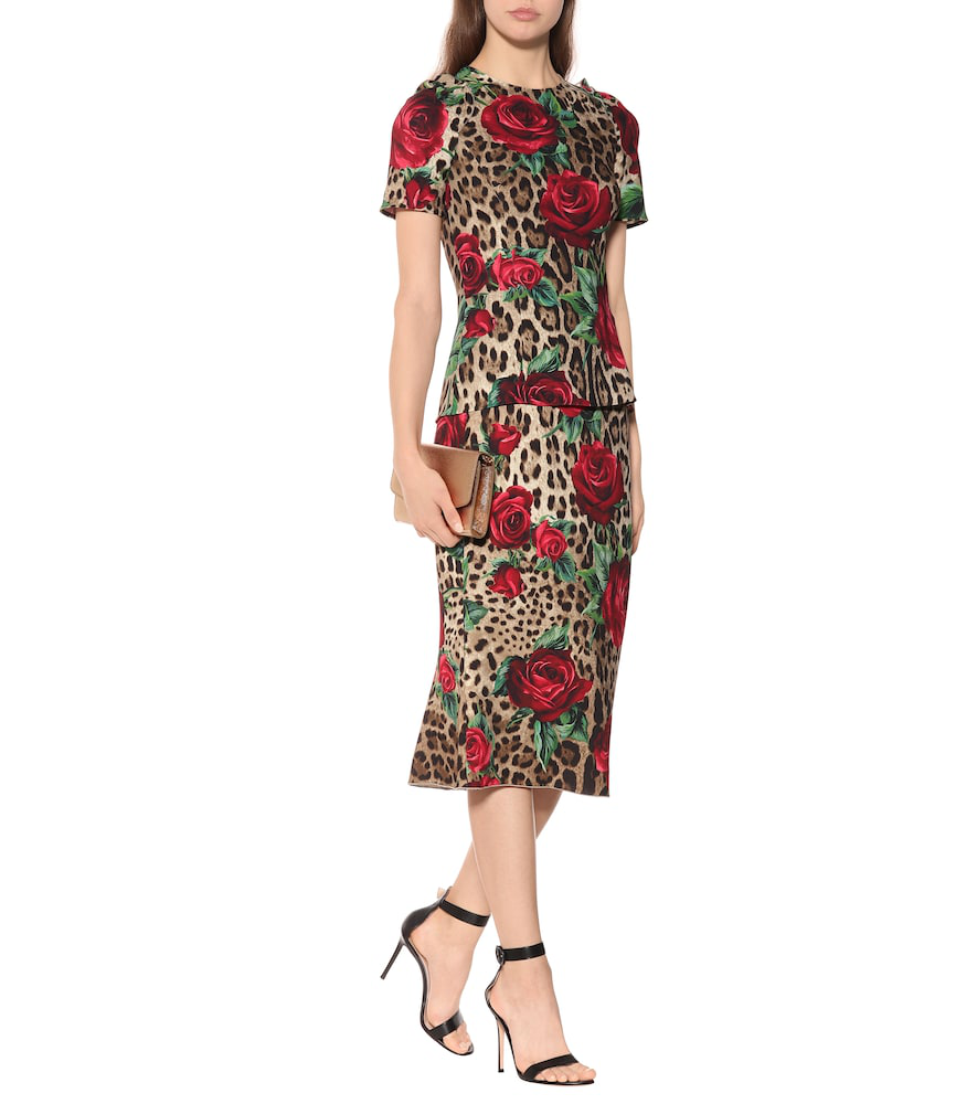 0c6e12e91 Dolce & Gabbana Leopard And Rose-Print Cady Pencil Skirt In Multicolour