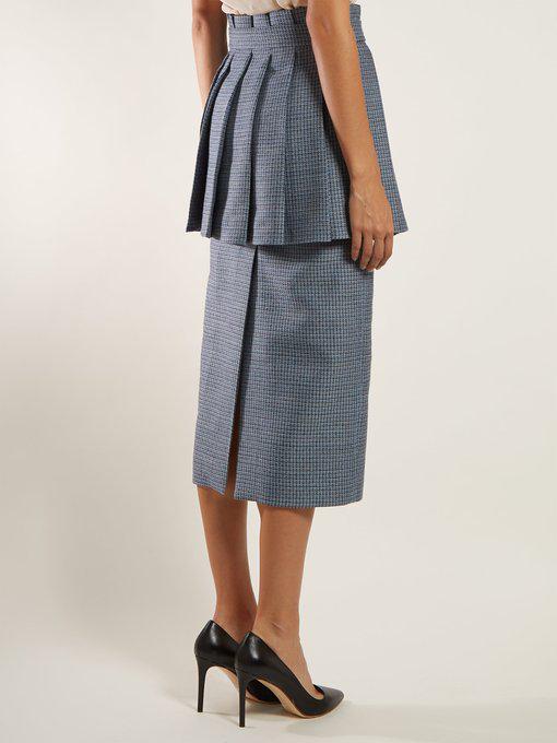 f5f5265de9 Fendi Pleated-Panel Wool-Blend Tweed Pencil Skirt In Blue Multi ...