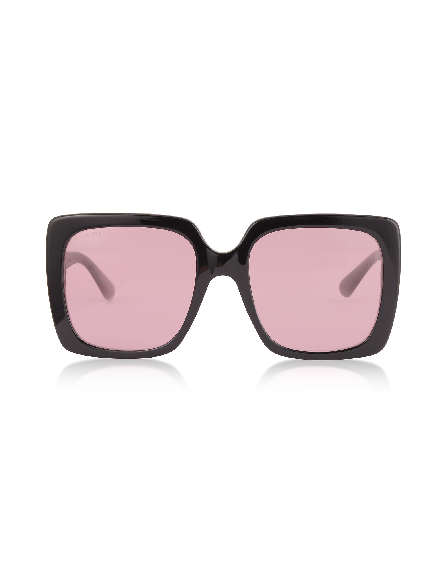 1ba9ba9ded1 Gucci 54Mm Gradient Square Sunglasses - Black  Crystal  Solid Pink In Shiny  Black Acetate
