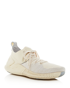 c4364421fd13 Nike Free Tr 3 Champagne Crinkled Leather-Trimmed Flyknit Sneakers In Ecru
