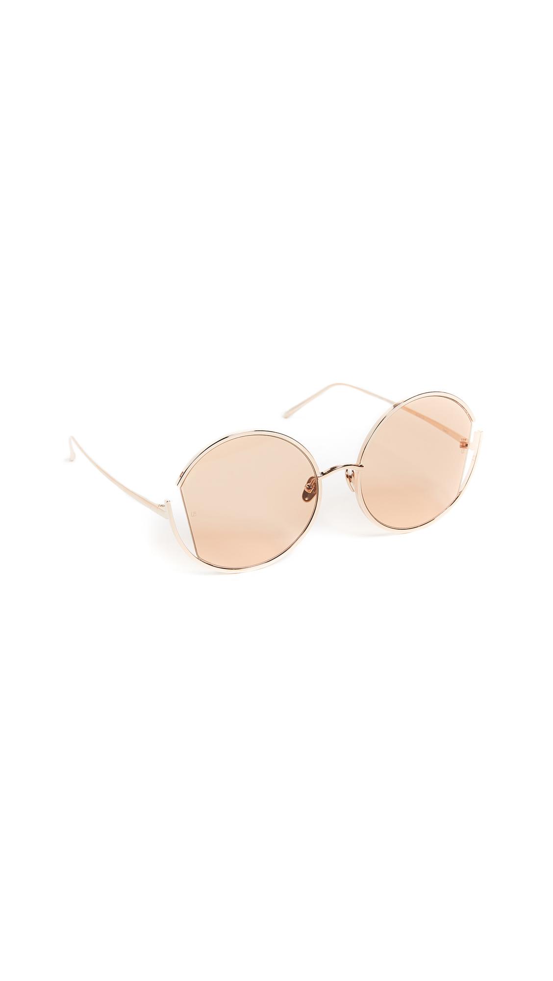 90341fdd43842 Linda Farrow Luxe Round Oversized Sunglasses In Rose Gold Peach ...