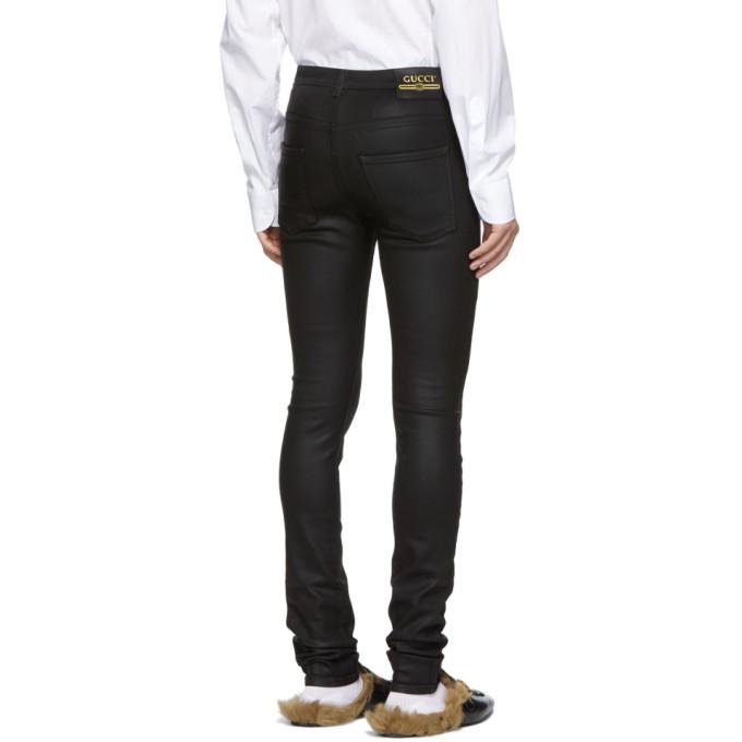 f6f6f4f8ea70 Gucci Logo Patch Skinny Fit Coated Denim Jeans Mens Black