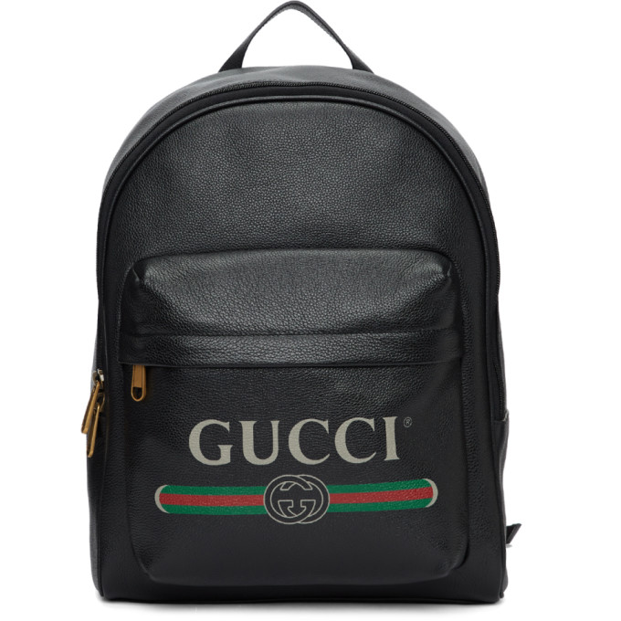 ab3de4ca8698f1 Gucci Men's Vintage Logo-Print Leather Backpack, Black In 8163 Black ...
