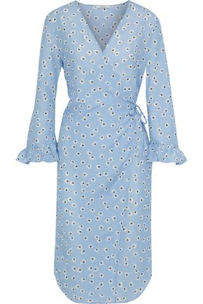 8e36e6efc0 Ganni Woman Beacon Floral-Print Cotton And Silk-Blend Poplin Wrap Dress Sky  Blue