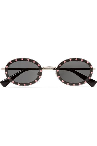 73f79dbbe5a Valentino 51Mm Crystal Rockstud Oval Sunglasses - Black  Lite Gold Solid