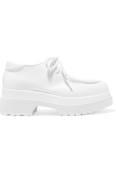 581171a1f7d Mm6 Maison Margiela 60Mm Leather Platform Lace-Up Shoes In White ...