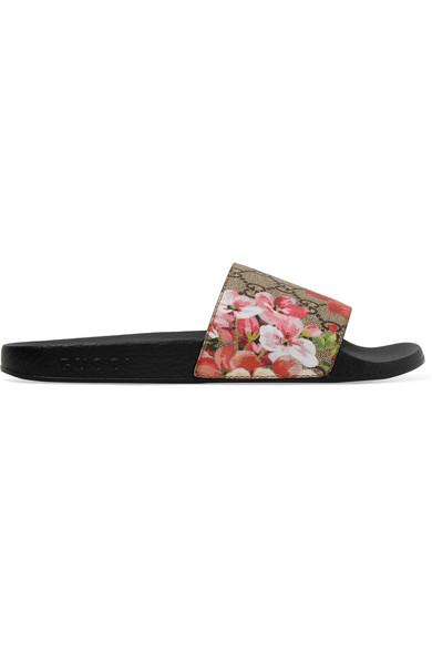 508f0bd0e595 Gucci Women s Slippers Sandals St. Blooms Place Flowers Gg Supreme In Pink