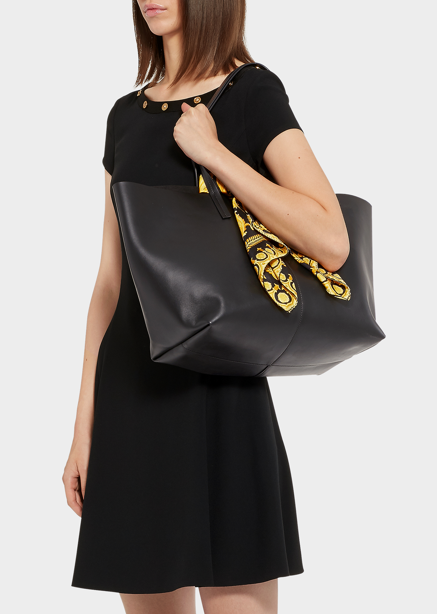 e799c2db46 Calf Leather Shoulder Tote Bag With Barocco Scarf in Black Multi Tribute  Gold