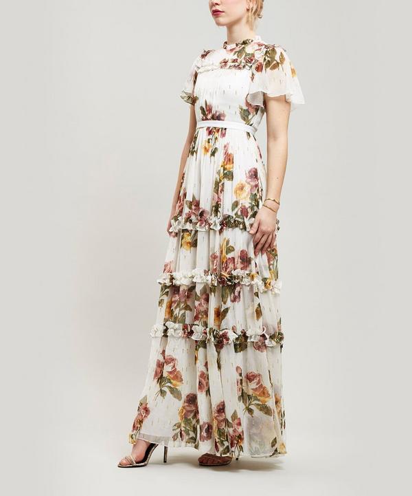 67f9bd0a7f4 Needle   Thread Venetian Metallic Rose Maxi-Dress In White