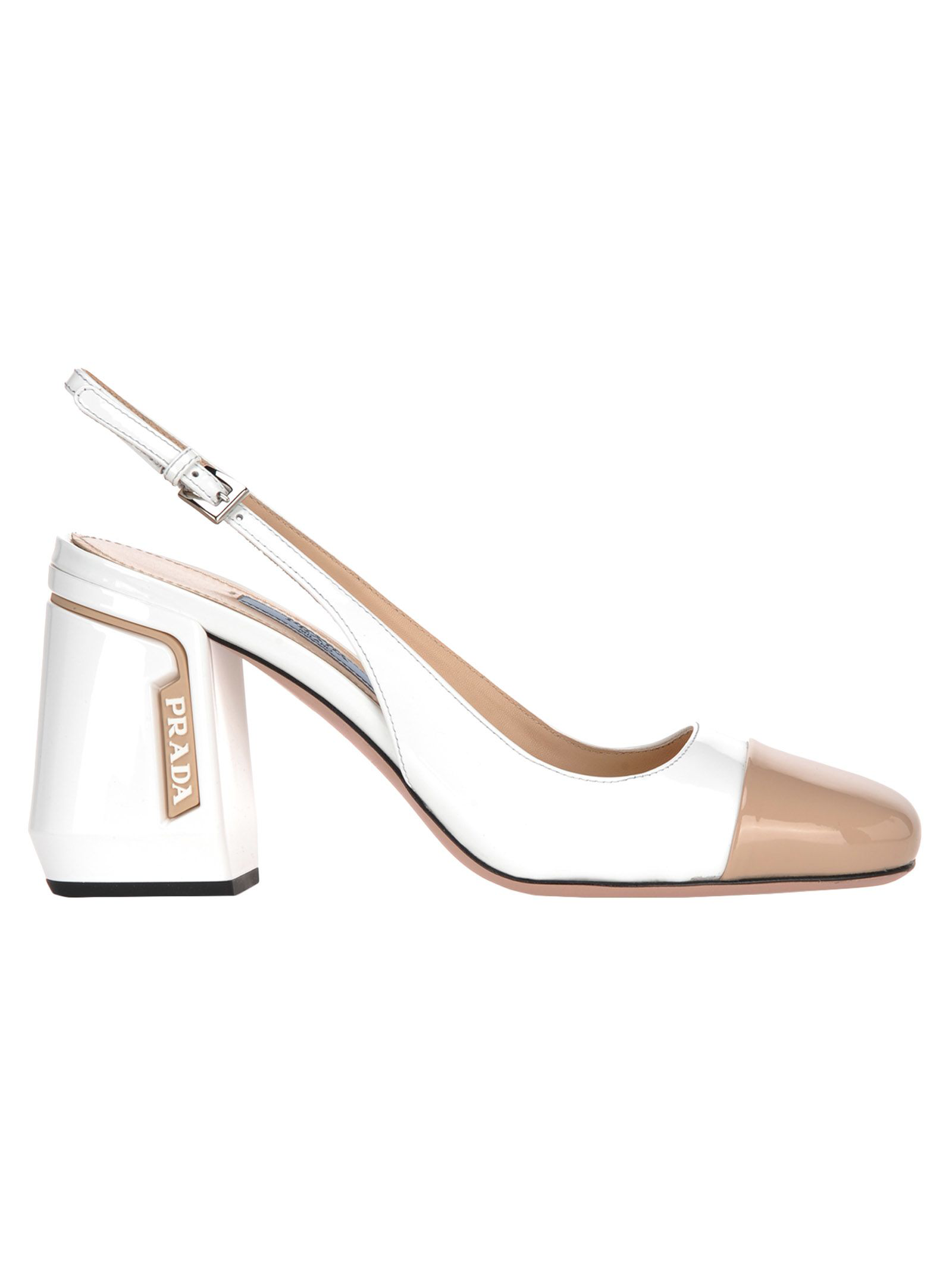 971d51ba2ca1 Prada 85 Two-Tone Smooth And Patent-Leather Slingback Pumps In White ...